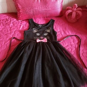 Girl's Black Cat Dress